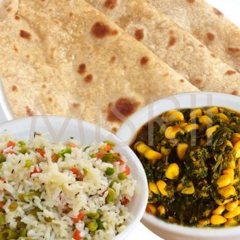 Methi Palak Corn, Navratan Rice