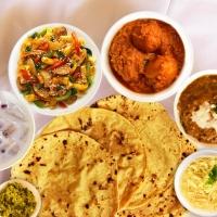 Chapati, Paratha, Jeera Rice, Jodhpuri Gulab Jamun Ki Sabji, Dal Makhani