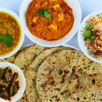 Green Chapati, Missi Roti, Veg Biryani, Paneer Baluchi, Mixed Dal, Bhindi Peri Peri